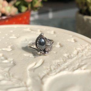 Vintage Hematite Sterling Silver Ring Sz 6